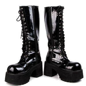 Demonia Ranger Patent Vegan Leather Platform Boots Goth Vamp Club M9 W10.5-11